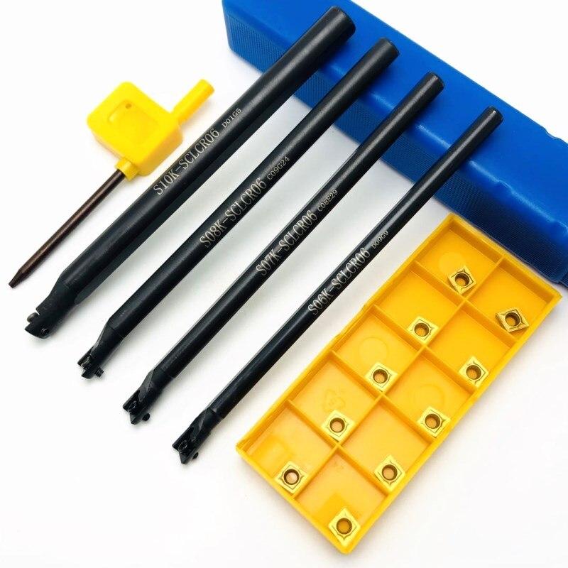 4PCS S10K SCLCR06 S06K / S07K / S08K / S10K 95 degree spiral turning tool holder boring bar + 10PCS CCMT060204 carbide tools